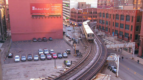 The Chicago El train passes through the downtown l Footage