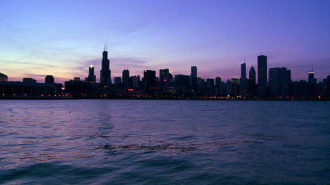 The city of Chicago at twilight Footage