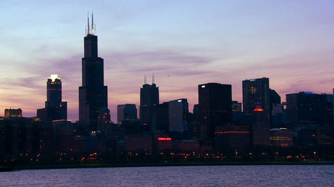 The City Of Chicago Skyline At Twilight stock footage