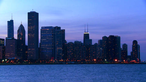 The city of Chicago skyline at twilight Stock Video Footage