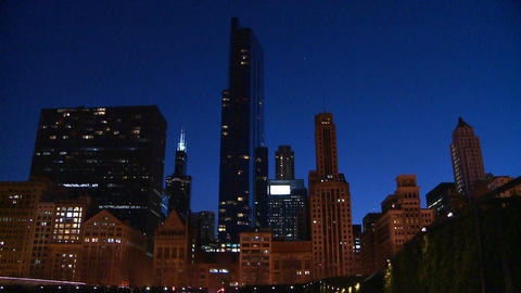 Downtown Chicago skyline at night Stock Video Footage