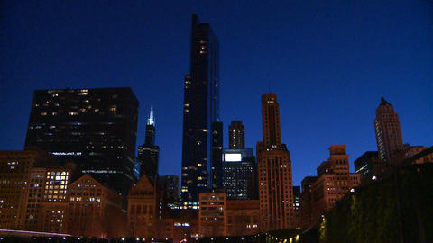 Downtown Chicago skyline at night Footage