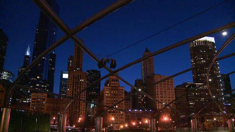 Downtown Chicago skyline at night from Millennium Stock Video Footage