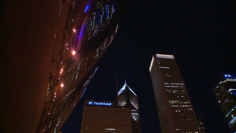Downtown Chicago skyline at night reflected partly Footage
