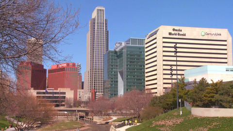 Downtown Omaha Nebraska skyscrapers rise above a c Footage