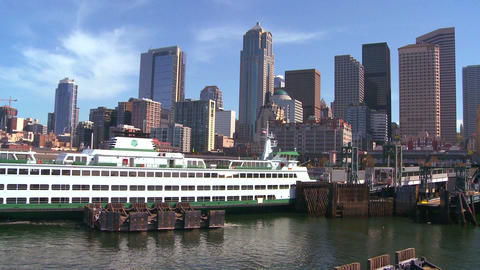 The Seattle skyline from the harbor with ferry boa Stock Video Footage