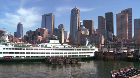 The Seattle skyline from the harbor with ferry boa Footage