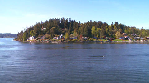 Shot of Bainbridge Island, Washington from the Sea Stock Video Footage