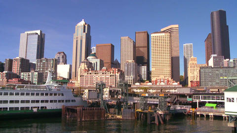 The city of Seattle as seen from the ferry approac Footage
