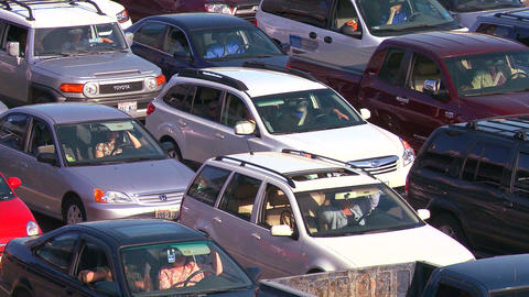 Cars stand still in a traffic jam Stock Video Footage