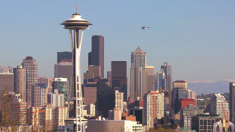 Beautiful establishing shot of Seattle Washington Stock Video Footage