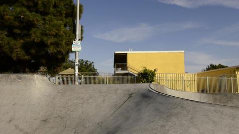 BMX bike jump at Belvedere Skate Park in East Los Stock Video Footage