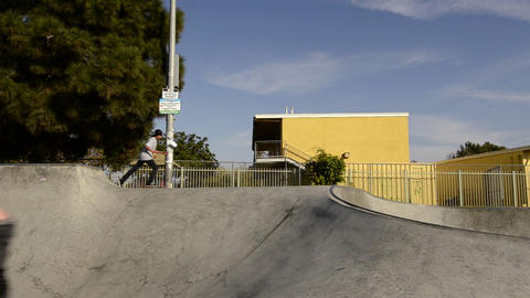 BMX bike jump at Belvedere Skate Park in East Los Stock Video Footage