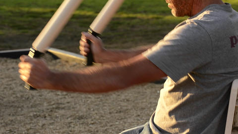 A man working out at a Fitness Zone in Belvedere C Stock Video Footage