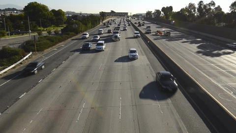 Pomona Freeway, Interstate 60 from a pedestrian ov Stock Video Footage