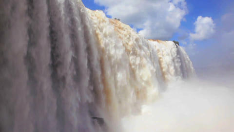 The beautiful Iguacu waterfall thundering into a c Stock Video Footage