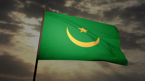Flag Mauritania 03 Stock Video Footage