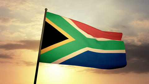 Flag South Africa 03 Stock Video Footage