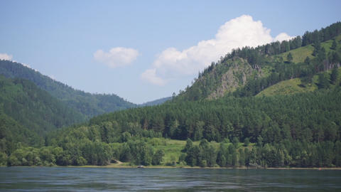 River Yenisei shore view 02 Footage