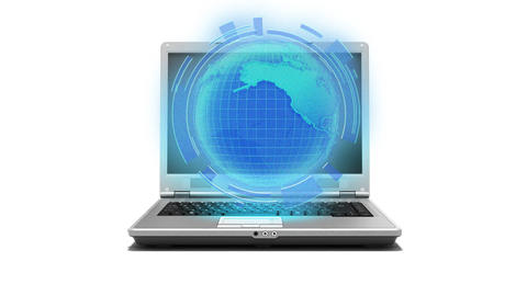 Global internet laptop, Notebook with Earth hologr Stock Video Footage