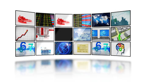 Many business videos on screens on white backgroun Animation