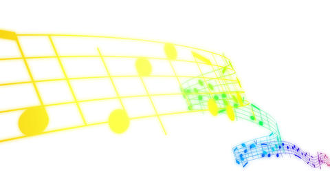 Music notes flowing in rainbow colors on white bac Stock Video Footage