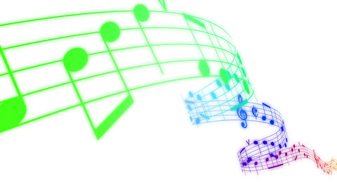 Music notes flowing in rainbow colors on white bac Animation