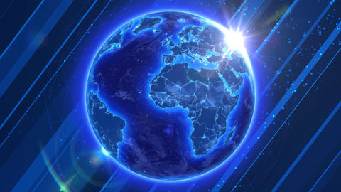 Beautiful Blue Earth with shiny Sun on abstract ba Stock Video Footage