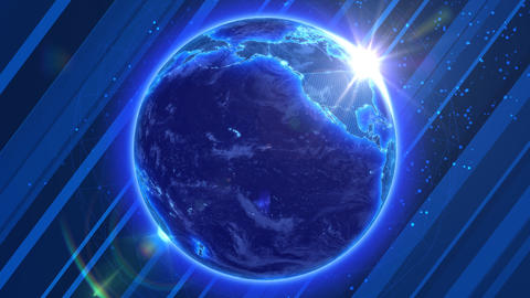 Beautiful Blue Earth with shiny Sun on abstract ba Animation