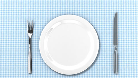 Plates, fork, spoon and knife appear on table. HD  Animation