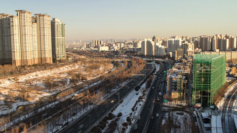 Seoul City 102 Zoom Stock Video Footage