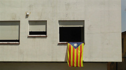 Catalonia Flag in Window Spain 1 Stock Video Footage