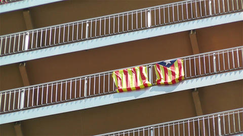 Catalonia Flag on Building Fence Footage