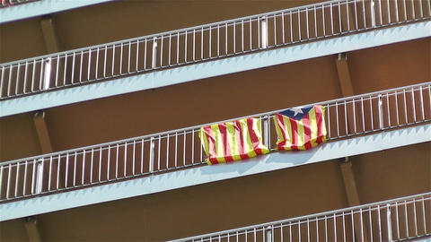 Catalonia Flag on Building Fence Stock Video Footage