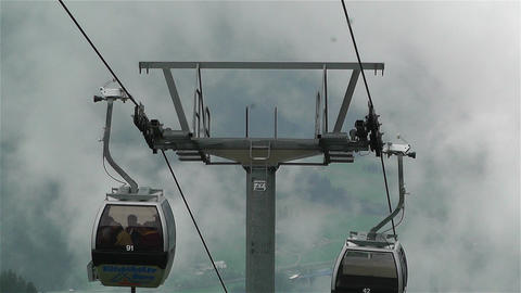 European Alps Kitzbuheler Horn Austria 6 cable car Stock Video Footage