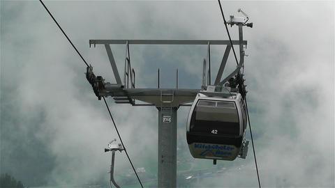 European Alps Kitzbuheler Horn Austria 6 cable car Stock Video Footage