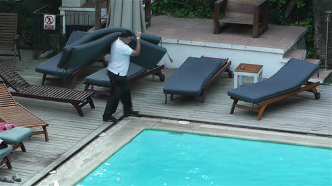 Evening at Swimming Pool Stock Video Footage