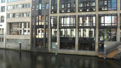 Hamburg Downtown Germany 4 canal Stock Video Footage