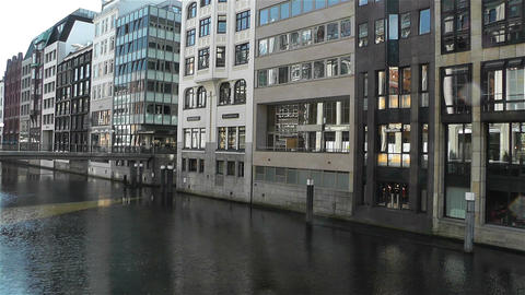 Hamburg Downtown Germany 5 canal Stock Video Footage