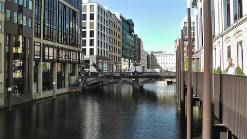 Hamburg Downtown Germany 6 canal Stock Video Footage
