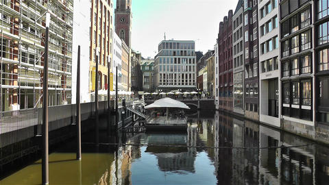 Hamburg Downtown Germany 7 canal Stock Video Footage