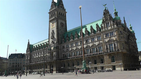 Hamburg Downtown Germany 11 rathaus Footage