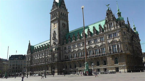 Hamburg Downtown Germany 11 rathaus Stock Video Footage