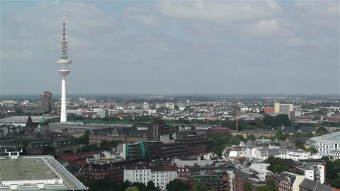 Hamburg Germany Aerial 2 heinrich hertz tower Stock Video Footage