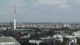 Hamburg Germany Aerial 2 heinrich hertz tower Stock Video Footage