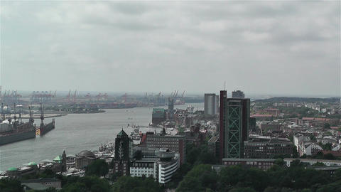 Hamburg Germany Aerial 4 port Stock Video Footage