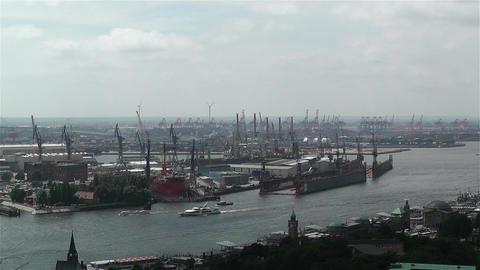 Hamburg Germany Aerial 8 port Stock Video Footage