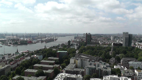 Hamburg Germany Aerial 10 port Stock Video Footage