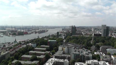 Hamburg Germany Aerial 10 port Stock Video Footage