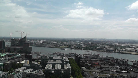 Hamburg Germany Aerial 12 port Stock Video Footage